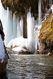 Amazing waterfall in Armenia in the winter, Nagorn Royalty Free Stock Photography
