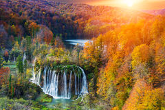 Amazing waterfall and autumn colors in Plitvice Lakes Stock Image