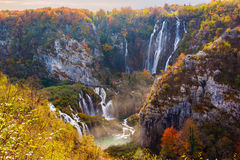 Amazing waterfall and autumn colors in Plitvice Lakes Stock Images