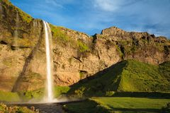 Amazing waterfall in Iceland. View of the Seljalandsfoss waterfall in Iceland royalty free stock photos