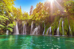 Amazing waterfall in Plitvice Lakes National Park with turquoise Royalty Free Stock Photography