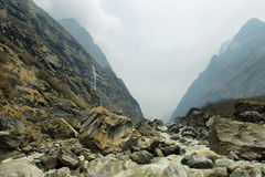 Amazing waterfall and river near Deurali, Nepal Royalty Free Stock Photography