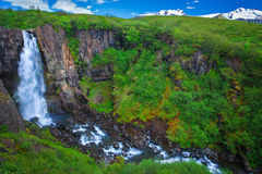 Amazing waterfall at the south side of Iceland royalty free stock photos