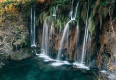 Amazing Waterfalls in Croatian Plitvice Lakes National Park royalty free stock image