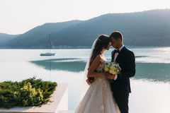 Amazing wedding couple, bride and groom holding hands on a lake background. Cute girl in white dress, men in black. Business suit. boat and mountains landscape Stock Image