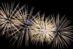 Amazing white-blue fireworks on black background.  Stock Images