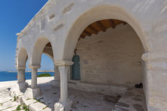 Amazing White chuch and seascape in town of Parakia, Paros island, Greece Royalty Free Stock Images