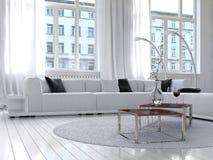 Amazing white loft living room interior Royalty Free Stock Photography