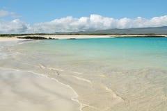 Amazing white sand beach of Cerro Brujo. In San Cristobal island, Galapagos Islands, Ecuador Royalty Free Stock Image