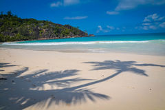 Amazing white sand beach in Seychelles Royalty Free Stock Image