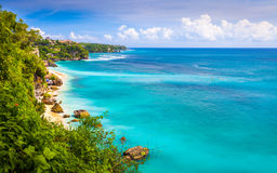 Amazing wild nature landscape view of Azure beach lagoon with rocky mountains. And clear water of Indian ocean on background / Asia Stock Photography
