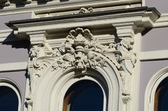 Amazing window cornice in art Nouveau style. Clear summer day royalty free stock photography