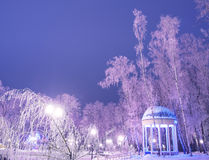 Amazing winter landscape in evening park. Gazebo, lantern lights. Snow and frosty trees. Artistic picture. Beauty world Stock Image