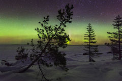 Amazing winter landscape with northern lights Royalty Free Stock Image