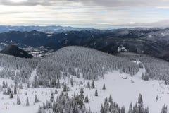 Winter landscape of Rhodope Mountains near Pamporovo resort from Snezhanka tower, Smolyan Region, Bulgaria Royalty Free Stock Images