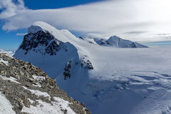 Amazing Winter Landscape of swiss Alps and mount Breithorn,  Switzerland Royalty Free Stock Photos