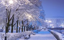 Amazing winter night landscape of snow covered bench among snowy