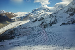 Amazing winter panorama from matterhorn glacier paradis Alps Stock Image