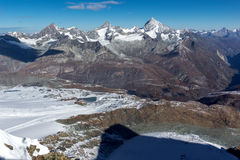Amazing winter panorama from Matterhorn Glacier Paradise,  Alps Stock Image