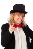 Amazing woman in black jacket, bowtie and a top hat Stock Photo