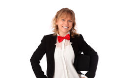 Amazing woman in black jacket, bowtie and a top hat Stock Photography