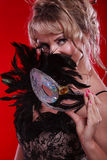 Amazing woman with carnival mask. Stock Photos