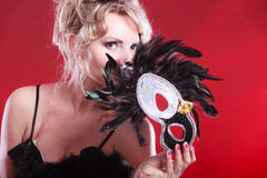 Amazing woman with carnival mask. Stock Image
