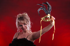 Amazing woman with carnival mask. Royalty Free Stock Photo
