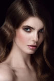 Amazing woman portrait. Hairdo hollywood waves. Looking directly. Excellent portrait. Studio shot Royalty Free Stock Images