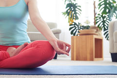 Amazing woman in sportswear doing lotus pose on yoga mat Stock Images