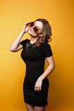 Amazing woman trendy, mirrored sunglasses, short wavy hair. Stock Image
