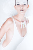 Amazing woman in white body and hat Royalty Free Stock Image