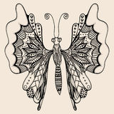 Amazing wonderland fly butterfly. Hand drawn butterfly of abstract flowers, plant. Vector. Set collection. Creative bohemia concept for wedding invitations Stock Image