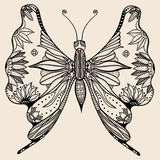 Amazing wonderland fly butterfly. Hand drawn butterfly of abstract flowers, plant. Vector. Set collection. Creative bohemia concept for wedding invitations Royalty Free Stock Photography
