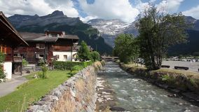 Amazing wooden building in Les Diablerets stock video footage