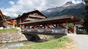 Amazing wooden building in Les Diablerets stock video