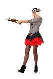 Amazing young blonde with guns. Dressed as pirates Royalty Free Stock Photo