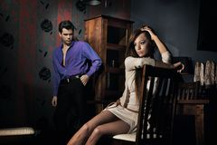 Amazing young couple in nice room Stock Photography