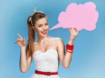 Amazing young woman showing sign speech bubble banner looking happy excited Stock Images