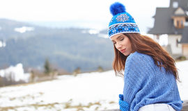 Amazing young woman in ski clothes outdoors Royalty Free Stock Image