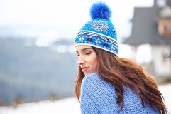 Amazing young woman in ski clothes outdoors Royalty Free Stock Images