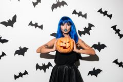 Amazing young woman in witch halloween costume Stock Photos