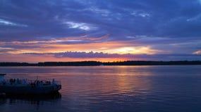 Amazingl purple orange sunset on the river Royalty Free Stock Photo
