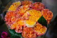 Amazingly beautiful bouquet of wonderful orange roses Royalty Free Stock Photography