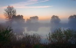 Amazingly beautiful sunrise over Lake, foggy Royalty Free Stock Images