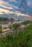 Amazingly beautiful sunrise over Lake, foggy Royalty Free Stock Photography