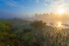 Amazingly beautiful sunrise over Lake, foggy Stock Photography