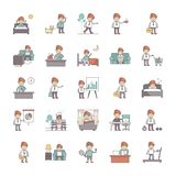 Happy Salaryman Daily Life Routine Vector Pack stock illustration