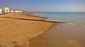 Empty beaches at Eastbourne on a May bank holiday stock photos
