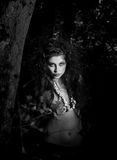 Amazon. In wood, portrait of a beautiful girl, portrait of the beautiful girl in nature, black and white image Royalty Free Stock Photography